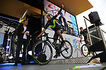 Nairo Quintana (COL) Movistar Team on stage at the Team Presentation in Burgplatz Dusseldorf before the 104th edition of the Tour de France 2017, Dusseldorf, Germany. 29th June 2017.<br /> Picture: Eoin Clarke | Cyclefile<br /> <br /> <br /> All photos usage must carry mandatory copyright credit (&copy; Cyclefile | Eoin Clarke)