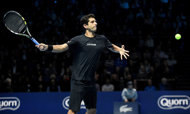 Marcelo Melo in action against Jack Sock and Mike Bryan Photographer Hannah Fountain/CameraSport<br /> <br /> International Tennis - Nitto ATP World Tour Finals Day 2 - O2 Arena - London - Monday 12th November 2018<br /> <br /> World Copyright © 2018 CameraSport. All rights reserved. 43 Linden Ave. Countesthorpe. Leicester. England. LE8 5PG - Tel: +44 (0) 116 277 4147 - admin@camerasport.com - www.camerasport.com