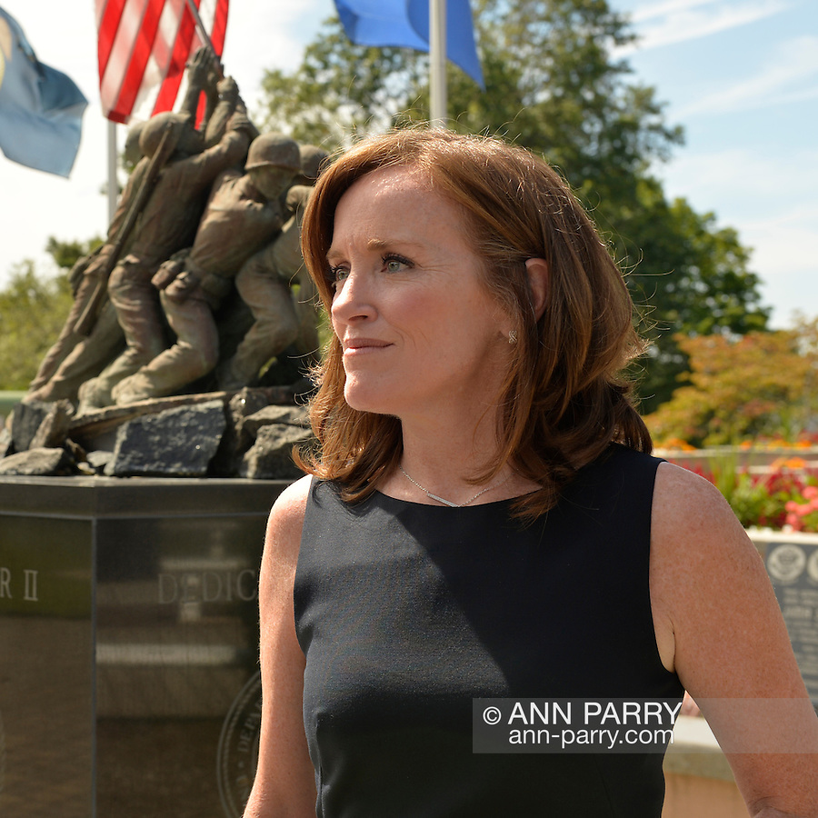 East Meadow, New York, U.S. - September 3, 2014 - KATHLEEN RICE, Democratic congressional candidate (NY-04), releases a whitepaper on veterans policy and announces formation of her campaign's Veterans Advisory Committee, at Veterans Memorial at Eisenhower Park. Rice is in her third term as Nassau County District Attorney, Long Island.