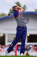 Dustin Johnson (USA) watches his tee shot on 12 during the practice round at the Ryder Cup, Hazeltine National Golf Club, Chaska, Minnesota, USA.  9/29/2016<br /> Picture: Golffile | Ken Murray<br /> <br /> <br /> All photo usage must carry mandatory copyright credit (&copy; Golffile | Ken Murray)