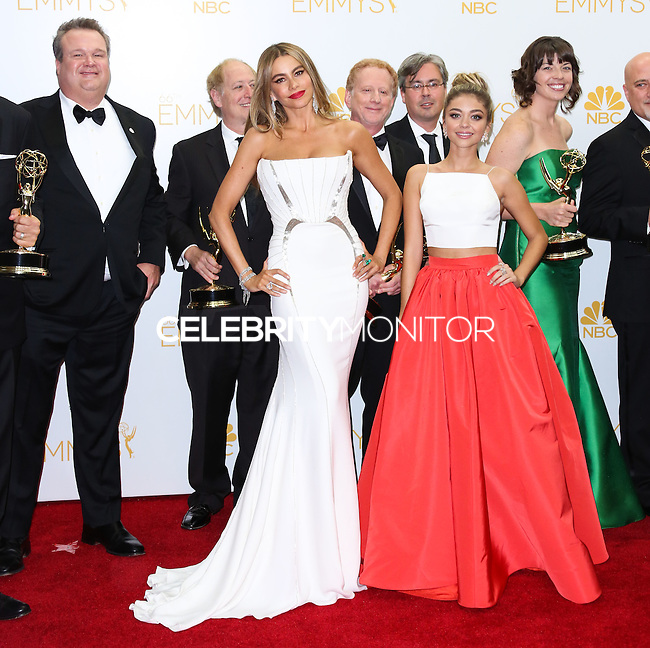 LOS ANGELES, CA, USA - AUGUST 25: Eric Stonestreet, Sofia Vergara, Sarah Hyland in the press room at the 66th Annual Primetime Emmy Awards held at Nokia Theatre L.A. Live on August 25, 2014 in Los Angeles, California, United States. (Photo by Celebrity Monitor)