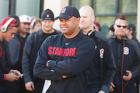 STANFORD,CA-- November 23, 2013: David Shaw, head coach, before the Stanford vs Cal game Saturday afternoon at Stanford Stadium.<br /> <br /> Stanford won 63-13.