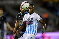 VIGO, SPAIN - APRIL 13 : Ally Mbwana Samatta forward of KRC Genk looks at the ball during the UEFA Europa League, Quarter-finals, 1st leg match between RC Celta de Vigo and KRC Genk at the Balaidos stadium on April 13, 2017 in Vigo, Spain, 13/04/2017 <br /> Vigo 13-04-2016 <br /> Celta Vigo - Genk Europa League <br /> Foto Panoramic / Insidefoto <br /> ITALY ONLY