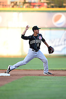 Kane County Cougars shorstop Carlos Penalver (6) throws to first during a game against the Peoria Chiefs on June 2, 2014 at Dozer Park in Peoria, Illinois.  Peoria defeated Kane County 5-3.  (Mike Janes/Four Seam Images)
