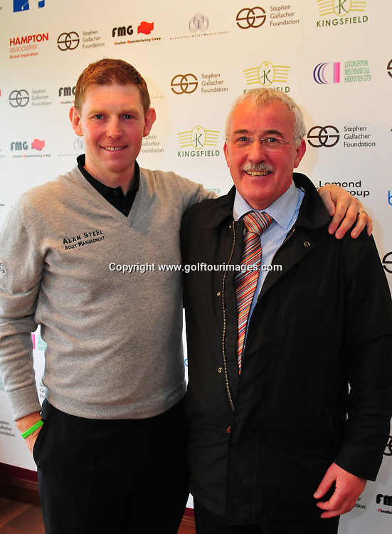 Stephen Gallacher launches the Stephen Gallacher Foundation at Kingsfield Golf Centre, Linlithgow, Scotland on 29th February 2012: Picture, Joey Kelly,  www.golftourimages.com , 29th February 2012.Stephen with Chief Executive of FMG group Jim Jamieson