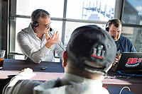 "Scott Zolak (left) and Marc Bertrand talk with fan Paul Kenney, of Dedham, Mass., during a break in the Zolak and Bertrand radio show, a weekly New England sports radio afternoon broadcast on 98.5 The Sports Hub, at the CBS Scene Restaurant and Bar at Patriot Place next to Gillette Stadium in Foxoborough, Mass., USA, on Wed., Jan. 24, 2018. Zolak is a former backup quarterback for the New England Patriots football team and is the Patriots' radio color commentator. Zolak and Bertrand have been broadcasting together for about 3 years. During this broadcast, Zolak and Bertrand talked about their plans to go to the upcoming Super Bowl, ticket prices for the Super Bowl, and had an interview with Boston Celtics Head Coach Brad Stevens. Kenney says he was Sports Talk Caller of the Year in 2005 and he calls Zolak and Bertrand all the time. During the Patriots season, he comes to watch the broadcast live periodically. ""These guys are as good as any [other sports radio]...better than most,"" Kenney said."