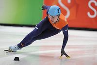 SHORT TRACK: DORDRECHT: Sportboulevard, 14-02-2016, ISU World Cup Short Track Final 2015/2016, Dennis Visser (#178), ©photo Martin de Jong
