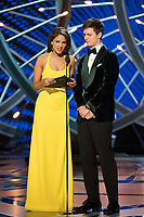 Eiza Gonzalez and Ansel Elgort present the Oscar&reg; for best sound editing during the live ABC Telecast of The 90th Oscars&reg; at the Dolby&reg; Theatre in Hollywood, CA on Sunday, March 4, 2018.<br /> *Editorial Use Only*<br /> CAP/PLF/AMPAS<br /> Supplied by Capital Pictures
