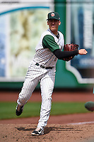 Fort Wayne TinCaps pitcher Gerardo Reyes (8) warms up in the bullpen during the second game of a doubleheader against the Great Lakes Loons on May 11, 2016 at Parkview Field in Fort Wayne, Indiana.  Great Lakes defeated Fort Wayne 5-0.  (Mike Janes/Four Seam Images)