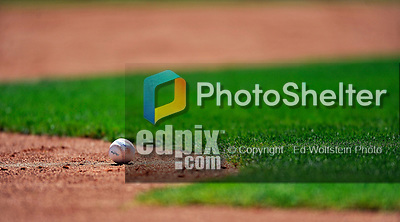 8 March 2011: A lone baseball lies on the playing field prior to a Spring Training game between the New York Yankees and the Atlanta Braves at Champion Park in Orlando, Florida. The Yankees edged out the Braves 5-4 in Grapefruit League action. Mandatory Credit: Ed Wolfstein Photo