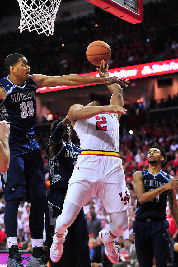Melo Trimble is fouled while going to the basket. Maryland defeated Georgetown 75-71 during a game at Xfinity Center in College Park, MD on Wednesday, November 17, 2015.  Alan P. Santos/DC Sports Box