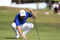 Lucas Bjerregaard (DEN) on the 17th green during Sunday's Final Round 4 of the 2018 Omega European Masters, held at the Golf Club Crans-Sur-Sierre, Crans Montana, Switzerland. 9th September 2018.<br /> Picture: Eoin Clarke | Golffile<br /> <br /> <br /> All photos usage must carry mandatory copyright credit (&copy; Golffile | Eoin Clarke)