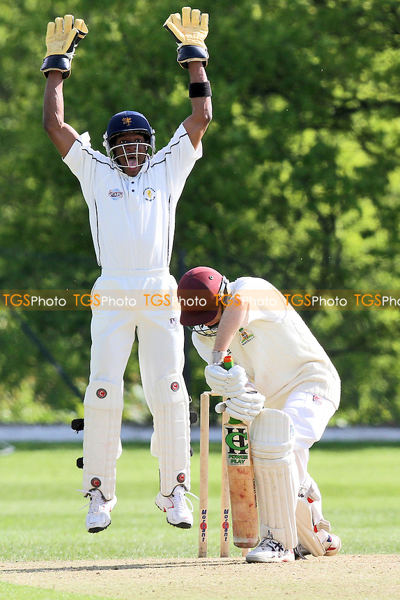 A strong appeal by O Allen for the wicket of Wanstead batsman J Chambers - Wanstead CC vs Ardleigh Green CC at Overton Drive - Essex Cricket League at Oakside - 12/05/12 - MANDATORY CREDIT: Gavin Ellis/TGSPHOTO - Self billing applies where appropriate - 0845 094 6026 - contact@tgsphoto.co.uk - NO UNPAID USE.