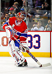 22 November 2008: Montreal Canadiens' goaltender Jaroslav Halak from the Slovak Republic warms up prior to a game against the Boston Bruins at the Bell Centre in Montreal, Quebec, Canada. The Canadiens, celebrating their 100th season, honored goaltender Patrick Roy during pre-game ceremonies where all team members wore his number 33, which was retired that evening.  ***** Editorial Use Only *****..Mandatory Photo Credit: Ed Wolfstein Photo *** Editorial Sales through Icon Sports Media *** www.iconsportsmedia.com