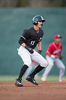 Jameson Fisher (11) of the Kannapolis Intimidators takes his lead off of second base against the Lakewood BlueClaws at Kannapolis Intimidators Stadium on April 6, 2017 in Kannapolis, North Carolina.  The BlueClaws defeated the Intimidators 7-5.  (Brian Westerholt/Four Seam Images)