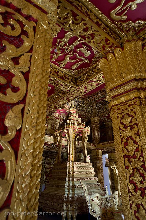 inside  Ho Phra Bang temple next to the palace in Luang Prabang, Laos, 2012. Luang Prabang is the old royal capitol of Laos.