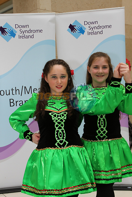 Sorcha McKernan and Kiera Whitmore as dancers from McCarthy School of Irish Dance perform a dance display in aid of Down Syndrome Ireland in the Laurence Centre...(Photo credit should read Jenny Matthews/NEWSFILE)...