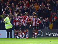 Lincoln City's Bruno Andrade celebrates scoring his side's third goal with team mates<br /> <br /> Photographer Andrew Vaughan/CameraSport<br /> <br /> Emirates FA Cup First Round - Lincoln City v Northampton Town - Saturday 10th November 2018 - Sincil Bank - Lincoln<br />  <br /> World Copyright © 2018 CameraSport. All rights reserved. 43 Linden Ave. Countesthorpe. Leicester. England. LE8 5PG - Tel: +44 (0) 116 277 4147 - admin@camerasport.com - www.camerasport.com