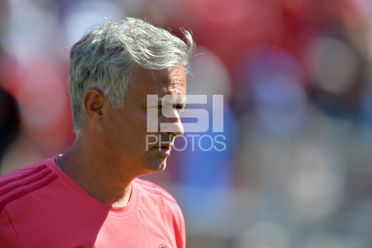 Santa Clara, CA - Sunday July 22, 2018: Jose Mourinho during a friendly match between the San Jose Earthquakes and Manchester United FC at Levi's Stadium.