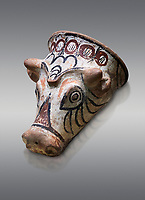 Phrygian terracotta decorated bull head shaped cult vessel. 8th-7th century BC . Çorum Archaeological Museum, Corum, Turkey