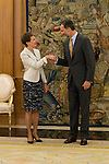 King Felipe VI of Spain and Switzerland President Simonetta Sommaruga during an official meeting at Zarzuela Palace in Madrid, Spain. July 06, 2015.<br />  (ALTERPHOTOS/BorjaB.Hojas)