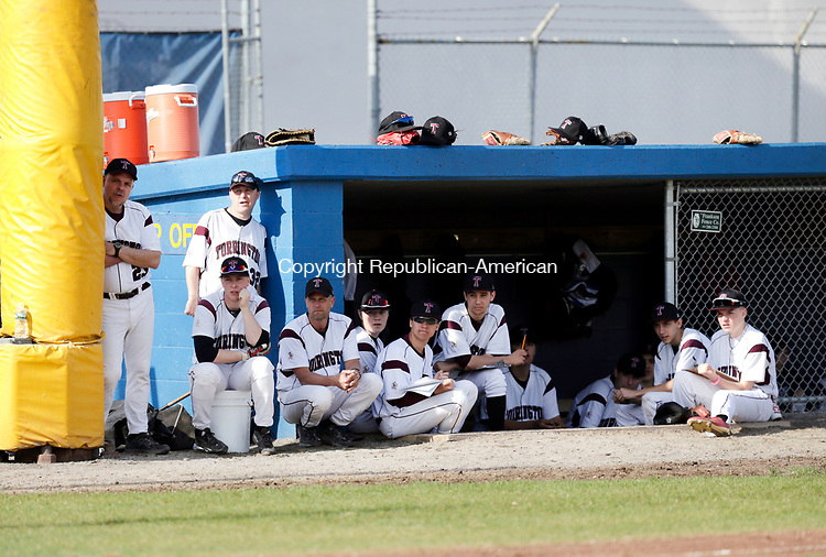 Torrington, CT- 12 April 2017-041217CM05- Torrington players watch on as their team plays host to Oxford during their NVL baseball matchup on Wednesday.    Christopher Massa Republican-American
