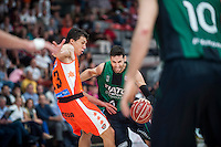 VALENCIA, SPAIN - OCTOBER 18: Lucic and Sergi Vidal during ENDESA LEAGUE match between Valencia Basket Club and FIATC Joventut at Fonteta Stadium on October 18, 2015 in Valencia, Spain