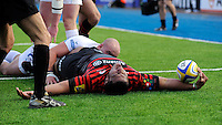 20130216 Copyright onEdition 2013©.Free for editorial use image, please credit: onEdition..Mako Vunipola of Saracens scores a try despite the tackle of Jack Yeandle of Exeter Chiefs during thePremiership Rugby match between Saracens and Exeter Chiefs at Allianz Park on Saturday 16th February 2013 (Photo by Rob Munro)..For press contacts contact: Sam Feasey at brandRapport on M: +44 (0)7717 757114 E: SFeasey@brand-rapport.com..If you require a higher resolution image or you have any other onEdition photographic enquiries, please contact onEdition on 0845 900 2 900 or email info@onEdition.com.This image is copyright onEdition 2013©..This image has been supplied by onEdition and must be credited onEdition. The author is asserting his full Moral rights in relation to the publication of this image. Rights for onward transmission of any image or file is not granted or implied. Changing or deleting Copyright information is illegal as specified in the Copyright, Design and Patents Act 1988. If you are in any way unsure of your right to publish this image please contact onEdition on 0845 900 2 900 or email info@onEdition.com