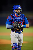 South Bend Cubs catcher Michael Cruz (8) during the second game of a doubleheader against the Lake County Captains on May 16, 2018 at Classic Park in Eastlake, Ohio.  Lake County defeated South Bend 5-2.  (Mike Janes/Four Seam Images)