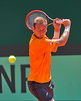 Austria, Kitzbuhel, Juli 15, 2015, Tennis, Davis Cup, Training Dutch team, Thiemo de Bakker<br /> Photo: Tennisimages/Henk Koster