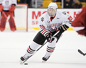 Mike Hewkin (Northeastern - 28) - The Northeastern University Huskies defeated the Harvard University Crimson 4-0 in their Beanpot opener on Monday, February 7, 2011, at TD Garden in Boston, Massachusetts.