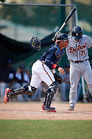 Atlanta Braves William Contreras (5) retrieves the ball after blocking a pitch with Brady Policelli (71) batting during an Instructional League game against the Detroit Tigers on October 10, 2017 at the ESPN Wide World of Sports Complex in Orlando, Florida.  (Mike Janes/Four Seam Images)