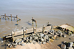 Old coastal defences on the beach at Happisburgh, Norfolk, England