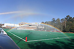14 November 2015: A double rainbow forms in the mist as the field is watered before the game. The Wake Forest University Demon Deacons played the University of Michigan Wolverines at Francis E. Henry Stadium in Chapel Hill, North Carolina in a 2015 NCAA Division I Field Hockey Tournament First Round match. Michigan won the game 2-1.