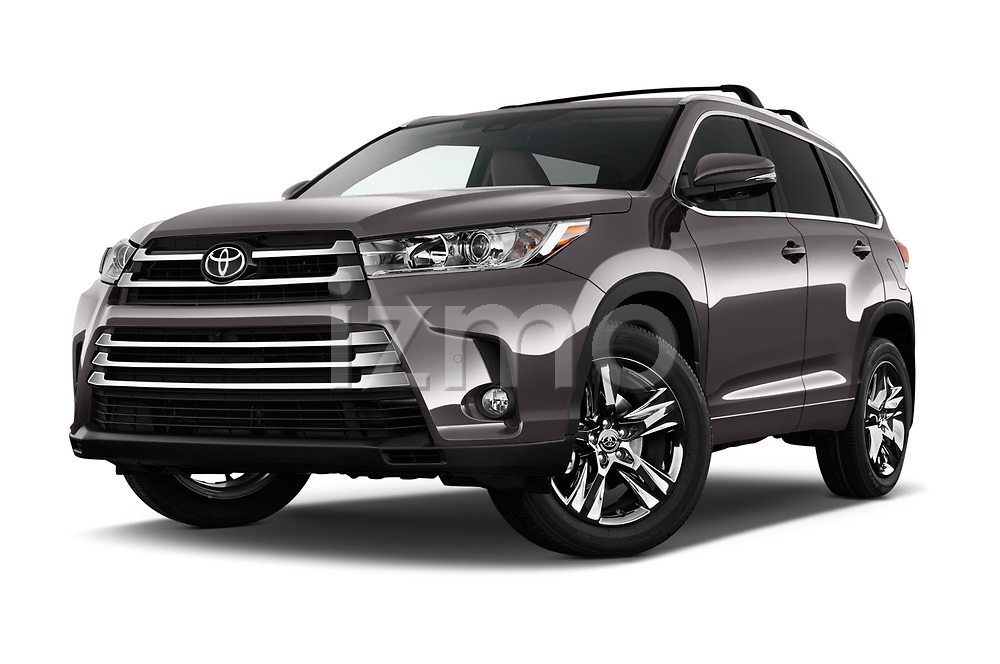 Stock pictures of low aggressive front three quarter view of 2017 Toyota Highlander Limited-Platinum 5 Door SUV Low Aggressive