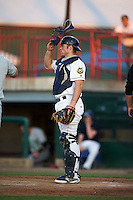 Burlington Bees catcher Wade Wass (44) during a game against the Clinton LumberKings on August 20, 2015 at Community Field in Burlington, Iowa.  Burlington defeated Clinton 3-2.  (Mike Janes/Four Seam Images)