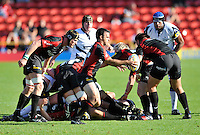 Aviva Premiership Rugby Saracens v Sale Sharks from Vicarage Road, Watford, England. 11th September 2010. Neil de Kock of Saracens clears the ball as he comes on to play for Saracens in his 100th game.