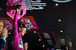 German Champion Pascal Ackermann (GER) Bora-Hansgrohe retakes the Maglia Ciclamino at the end of Stage 18 of the 2019 Giro d'Italia, running 222km from Valdaora-Olang to Santa Maria di Sala, Italy. 30th May 2019<br /> Picture: Massimo Paolone/LaPresse | Cyclefile<br /> <br /> All photos usage must carry mandatory copyright credit (© Cyclefile | Massimo Paolone/LaPresse)