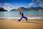 Yoga, Kalapaki Beach on Kauai Island, Hawaii