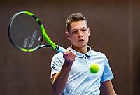 Alphen aan den Rijn, Netherlands, December 14, 2018, Tennispark Nieuwe Sloot, Ned. Loterij NK Tennis,  Wheelchair men's doubles :  Ruben Spaargaren (NED)<br /> Photo: Tennisimages/Henk Koster