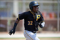 Pittsburgh Pirates second baseman Rodolfo Castro (32) runs to first base during a Florida Instructional League game against the Toronto Blue Jays on September 20, 2018 at the Englebert Complex in Dunedin, Florida.  (Mike Janes/Four Seam Images)