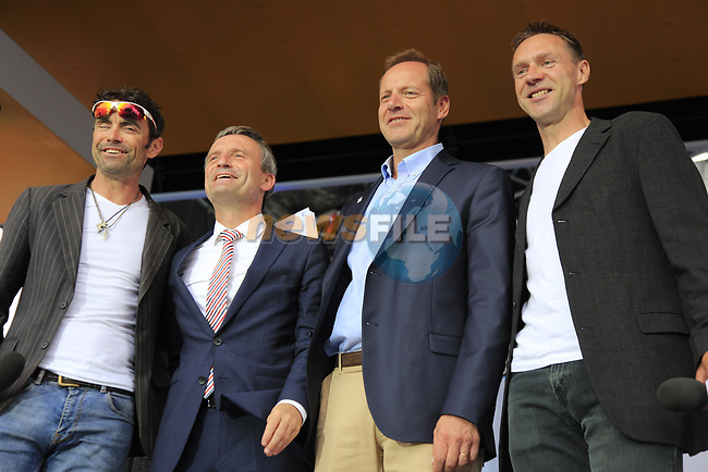 Mayor Thomas Geisel and Tour Director Christian Prudhomme with MCs Marcel Wurtz and Jens Voigt on stage at the Team Presentation in Burgplatz Dusseldorf before the 104th edition of the Tour de France 2017, Dusseldorf, Germany. 29th June 2017.<br /> Picture: Eoin Clarke | Cyclefile<br /> <br /> <br /> All photos usage must carry mandatory copyright credit (&copy; Cyclefile | Eoin Clarke)