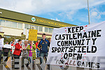 The Castlemaine Community Sportsfield Action Group protesting at the Kerry V's Galway football game at Austin Stack Park Tralee on Sunday.