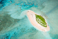 An aerial view of an island in the Funafuti atoll, Tuvalu. March, 2019.