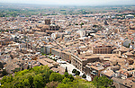 View of city centre and historic Moorish buildings in the Albaicin district of Granada, Spain seen from the Alhambra