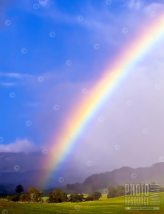 A rainbow over the Haleakala Ranch, Upcountry Maui.