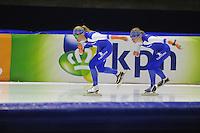 SCHAATSEN: HEERENVEEN: 03-10-2014, IJsstadion Thialf, Team Continu, Letitia de Jong, Thijsje Oenema, ©foto Martin de Jong