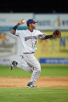 Mahoning Valley Scrappers second baseman Willi Castro (2) throws to first during a game against the Batavia Muckdogs on June 23, 2015 at Dwyer Stadium in Batavia, New York.  Mahoning Valley defeated Batavia 11-2.  (Mike Janes/Four Seam Images)