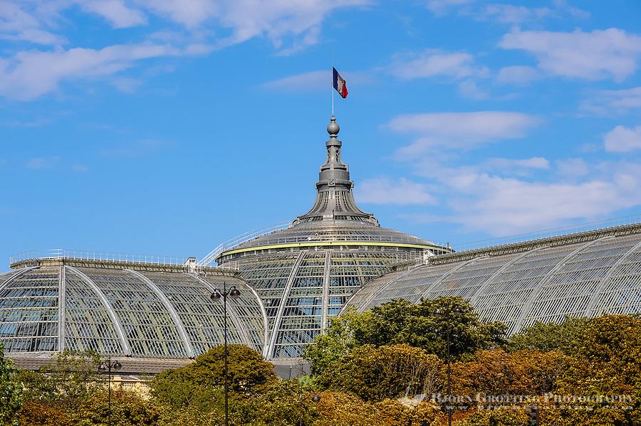 Paris, France. View from a boat on the river Seine. The Grand Palais des Champs-Elysées located at the Champs-Élysées.