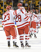 Cason Hohmann (BU - 23), Sahir Gill (BU - 28) - The Boston University Terriers defeated the Harvard University Crimson 3-1 in the opening round of the 2012 Beanpot on Monday, February 6, 2012, at TD Garden in Boston, Massachusetts.